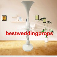 Wholesale white flower paintings for sale - Group buy New styleWedding props white paint mermaid vase site layout road led European metal furnishing articles wrought iron flower stand best0631