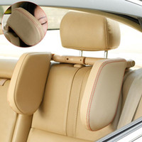 Wholesale leather headrest cushions resale online - PU Leather Auto Soft Children Retractable Cushion Car Seat Headrest Adjustable Support Neck Pillow Adults Side Shockproof Sleep