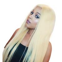 yapışkan olmayan tam dantelli peruk sarışınları toptan satış-Ücretsiz Kargo 613 # Sarışın Tutkalsız Sentetik Saç Dantel Ön Peruk Uzun Doğal Düz Yarım El Bağlı Kadınlar için Yedek Tam Peruk
