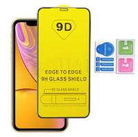 tam ekran temperli iphone toptan satış-9D Tam Kapak Tutkal Temperli Cam Telefon Ekran Koruyucu Için iPhone XR X XS MAX 8 7 6 YENI IPHONE IÇIN 11 2019 Samsung M30 M20 A20 A50 A70