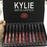 Wholesale 12 set lipstick resale online - Kylie LIPGLOSS Burthay colors matte liquid lipstick Keri cosmetics new kylie black butterfly lip gloss sets
