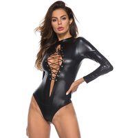 ingrosso donne sexy in pelle di gomma pvc-Donne sexy PU finto pelle PVC tute costumi Erotic Body costumi gomma flessibile caldo lattice Catsuit Catsome Porno pigiami