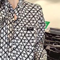 avrupa ceketleri baskılı toptan satış-Uzun gömlek moda ceket bayan gömlek 19 yeni Avrupa ipek gömlek bayanlar stand-up yakaları yazdırmak Tasarım