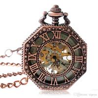 cadeia octagon venda por atacado-Luxo Octagon Pingente Mão Mecânica Winding Rose Relógio de Bolso com Cadeia de Números Romanos Skeleton Fob Relógios Homens Mulheres Presente