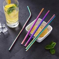 Rainbow Stainless Steel Straws 6mm 8.5inch 10.5inch Colorful Bent Straight Reusable Drinking Straws Metal Straw OOA6309