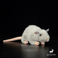 ingrosso bambola reale bianca-Super Soft Small Mouse Doll Toys Real Life Peluche Animali Bambole giocattolo presenti Grigio bianco