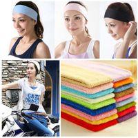 vendas anchas de algodón al por mayor-Diadema elástica 1PCS Sports Yoga Accesorio Dance Biker Wide Headband Stretch Ribbon Cotton Hairband