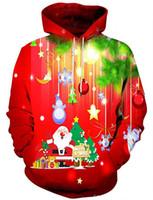 sudaderas de navidad para hombre al por mayor-Sudaderas con capucha de otoño 3D para hombre de Navidad Sudaderas con capucha de feliz Navidad Sudaderas Harajuku