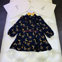 шелковые шифоновые платья для девочек оптовых-Девушки одеваются дети дизайнерская одежда шифон полиэстер платье милый олень шаблон платье HD печати выстроились шелк