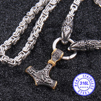 thor hammer gold al por mayor-acero inoxidable 316L nunca se desvanecen de cabeza collar de cadena de bambú lobo de Viking con el collar pendiente martillo mezcla de Thor oro