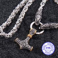 oro vikingo al por mayor-El acero inoxidable 316L nunca se descolora. Cabeza de lobo vikingo. Collar de cadena de bambú con martillo colgante de oro de Thor.
