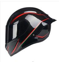 sombrero de alas negras al por mayor-Casco de sombrero seguro de cara completa negro rojo moto con alerón trasero pintura al carbono motocicleta carreras casco ECE R22