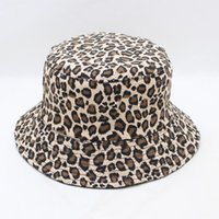 chinês chapéu venda por atacado-Leopard Bucket Hat Pesca luipaard coreano Estilo Hat Verão Mulheres Chinese Folding da cópia da chita Bucket Leopard Beach