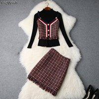 chalecos de punto al por mayor-Traje de falda de suéter de las mujeres de la vendimia de punto femenino minifalda faldas trajes damas 3 piezas Set mujeres Tops con chaleco de tweed y falda