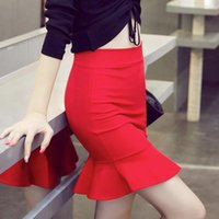 Wholesale fish tail fashion skirts resale online - Women Fashion Fish Tail Skirt Female Sexy Short Mini Tight Skirt Solid Color Ruffle Red Black Summer Slim