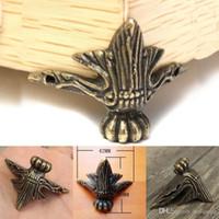 ingrosso gioielli decorativi del piede-4 pezzi gioielli scatola regalo petto cassa in legno piedi decorativi gamba guardia protettore angolo