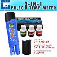 probador de ph al por mayor-ECM-226 Medidor de temperatura de pH EC de conductividad 3 en 1 Probador multiparamétrico Bolígrafo digital ATC, Análisis de prueba de calidad del agua