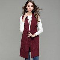 cardigans sans manches en tricot féminin achat en gros de-Longue section Cardigan en tricot sans manches gilet 2019 nouvelles femmes pull manteau pull de Noël