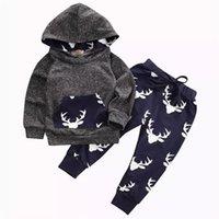 baby-set kleidung jungen groihandel-2019 Baby-Kleidung stellt Jungen Grau Kleinkind Hoodies Tops Hosen 2Stk Set Autumn Cotton Cartoon Infant Apparel Boutique Kleidung Outfits