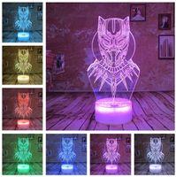 Marvel Comics Cool Black Panther Led Super Hero Night Light Boy Child  Birthday Present Lamp 7 Colors Change Bedroom Decor 3D Child Xmas Gift