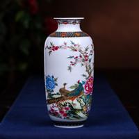 vasos de mesa chinesa venda por atacado-Novo Estilo Chinês Jingdezhen vasos de cerâmica flor vaso Hidropônico Jingdezhen cerâmica flores sala de estar moderna decoração de mesa