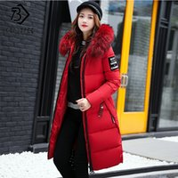 Wholesale big parka jacket women resale online - Winter Women s Down Parkas Winter Jacket Big Fur Thick Slim Long Coat Fashion Zipper Hooded Female Long Outerwear C88023l