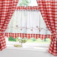 Tenda Per La Casa Creativa 30 90cm Tenda In Tessuto A Quadri Rosso Farcito Cucina Da Caffè Ricamata Di Alta Qualità Con Piccole Tende
