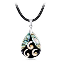 Wholesale abalone pendant necklace for sale - Group buy Pearl Abalone Shell Necklace Unique Special Ladies Water Drop Pendants Necklaces