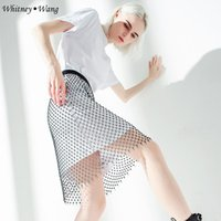 elmas bling mesh toptan satış-WHITNEY WANG 2019 Yaz Moda Streetwear Tasarımcı Stil Seksi Bling Bling Elmas See Through Mesh Mesh Etek Kadın faldas etekler