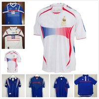 Wholesale football shirts thailand quality for sale - Group buy 10 ZIDANE FRANCE RETRO VINTAGE ZIDANE HENRY MAILLOT DE FOOT Thailand Quality soccer jerseys uniforms Football Jerseys shirt Men shirt