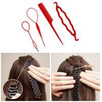 bükümlü saç tokası toptan satış-4 Adet / takım 3 Çeşit Sihirli HairPin Bun Rulo Maker Şekillendirici Seti Braiders Saç Örgü Uzatma Büküm Bigudi Şekillendirici Aracı ...