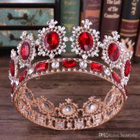 ingrosso pietre rosse delle corone nuziali-Bridal Crown Queen Strass cristalli Roayal Wedding Crowns Crystal Stone Red Black Gold Fascia Hair Studio modanatura Party Diademi