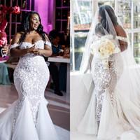 Wholesale pink wedding dresses shoulder resale online - Plus Size African Mermaid Wedding Dresses Vestido de Noiva Off Shoulder Lace Bridal Gowns Custom Made Robe De Mariage
