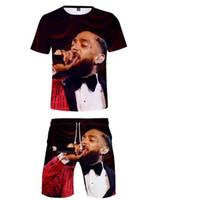 kız takım elbiseleri toptan satış-Nipsey koşuşturmasından İki Adet Set Boy / Kız Üst Ve Pantolon Yaz Casual Kısa Kollu Tee + Şort 3D Baskı Streetwear Eşofman
