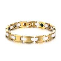 energie armband keramik großhandel-Modyle 100% Gold Farbe Tungsten Armband Frauen Schmuck gesunde weißen Keramik-Energie-Armband-Armbänder