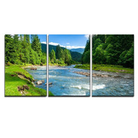 Wholesale river oil paintings online - 3 Piece Canvas Wall Art Landscape with Mountains Trees and a River in Front Canvas printed Oil Painting Drop shipping