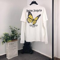 kelebek kalçalar toptan satış-2020SS palm melekler t shirt kelebek baskı sahte iki adet gerçek etiketleri t shirt erkek kadın streetwear hip hop palmiye melekler t-shirt