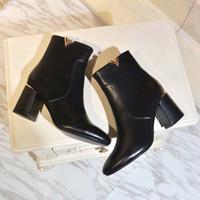 siyah ayak bileği botları kalın topuk toptan satış-Yeni 2019 Tasarımcı Kadınlar Siyah Hakiki Deri Ayak Bileği Çizmeler Marka Bayanlar Seksi Kalın Topuklu Çizmeler Kış Ayakkabı 35-40 Ücretsiz nakliye