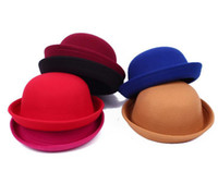 Wholesale kids formal hats for sale - Group buy Little girls fedora hat Dome cap Children dress hats Kids caps felt hats wool felting Bowler hat Women Formal Hat Men Stingy Brim Hats