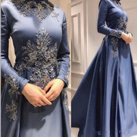 Wholesale black red prom gowns resale online - Caftan Arabic Muslim D Floral Appliques Evening Dresses Beaded Long Sleeves Prom Dresses A line Satin Formal Party Bridesmaid Pageant Gowns