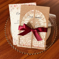 2020 Rose Gold Glitter Castle Laser Cut Wedding Invitations with Burgundy Ribbon and Envelope Bridal Shower Invites Customized Sweet 15 Card