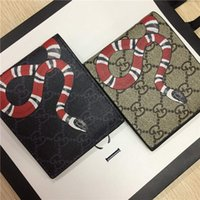 Wholesale vintage wallet leather for women resale online - Designer Tote Wallet Real Genuine Leather Luxury Men Short Wallets for Women Men Snake Bee Tiger Wolf Coin Purse Clutch Bags with Box z4134