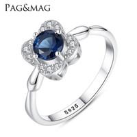 цветок сапфир кольца оптовых-PAGMAG корейский S925 Серебряное женское кольцо в форме цветка кольцо моды с сапфиром Шри-Ланки