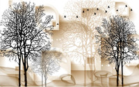 Wholesale fireproof wallpaper fabric for sale - Group buy Black and white tree D TV background wall d murals wallpaper for living room