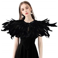 Wholesale feather capes resale online - Fashion Iridescent Rooster Hackle Natural Feather Collar Cape Stole Shawl Collar Shrug Cape feather shawl with Ribbon Ties Party