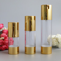 havasız şişe beyaz toptan satış-Makyaj Güzellik 30 ml 50 ml Boş Havasız Vakum Plastik Şişeler Altın Gümüş Beyaz Kozmetik Seyahat Sıvı Doldurulabilir Şişeler 10 adet