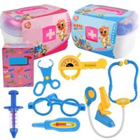 Wholesale kit doctor resale online - Kids Children Role Play Doctor Nurse Toy Medical Set Kit Plastic Carry Case Gift for Children DIY Pretend Play Toys PNLO
