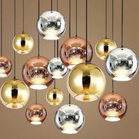 lampara moderna lámpara de araña al por mayor-País de las maravillas moderna cobre astilla Shade espejo de la lámpara de luz E27 Bombilla LED lámpara colgante moderno de navidad bola de cristal de 3 colores de iluminación