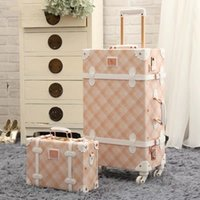 Wholesale spinner travel suitcase set resale online - Vintage Floral set rolling luggage with handbag PU cute fashion travel trolley suitcase personality Retro luggage Bag On Wheels