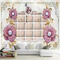 Wholesale hotel chinese painting for sale - Group buy Custom Size D Photo Wallpaper Living Room Mural Pearl Flower Chinese Painting Sofa TV Backdrop Mural Home Decor Creative Hotel Wallpaper